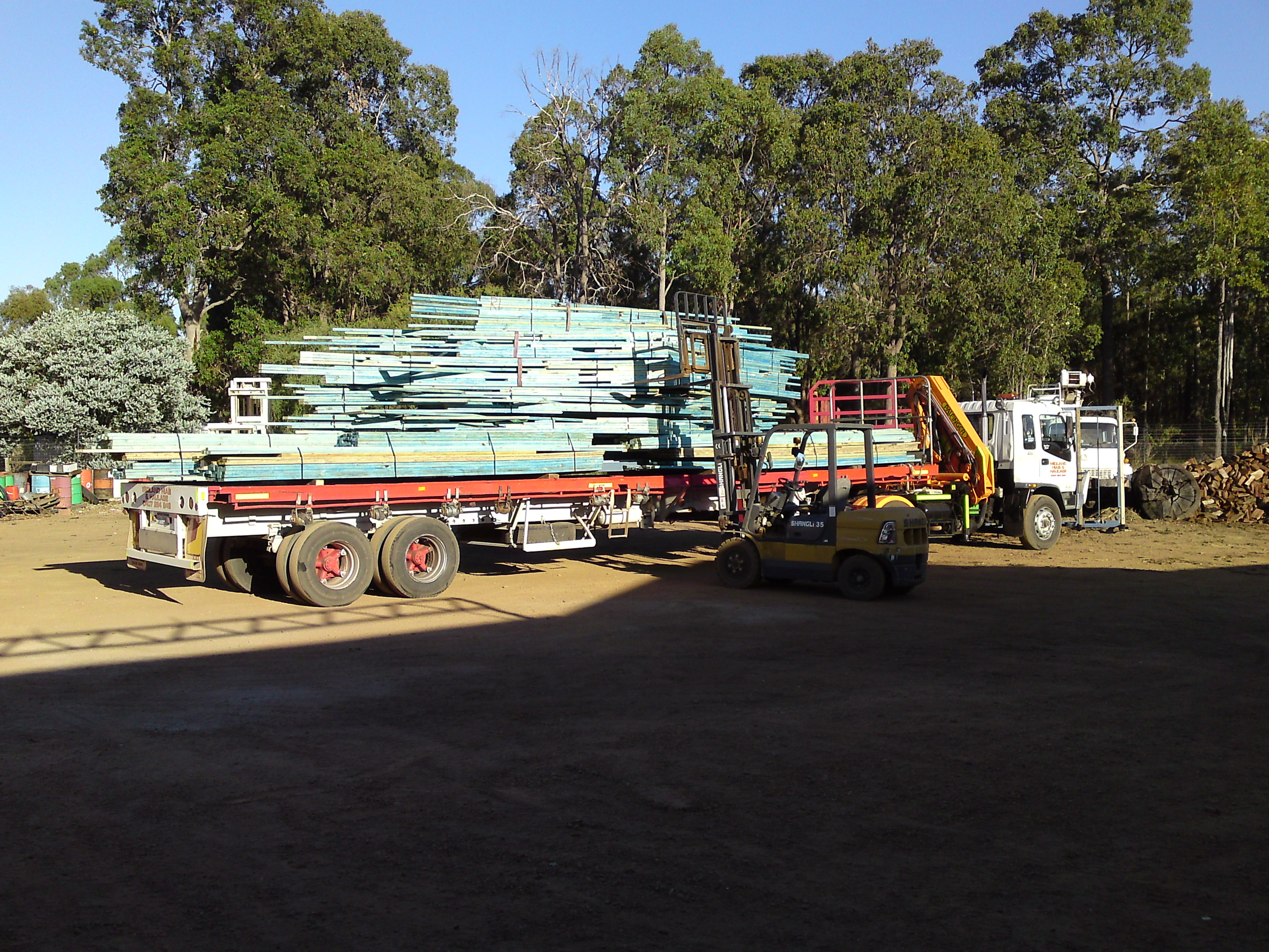 Delivery of wooden trusses to site